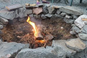 I fire just getting started in a stone fire pit